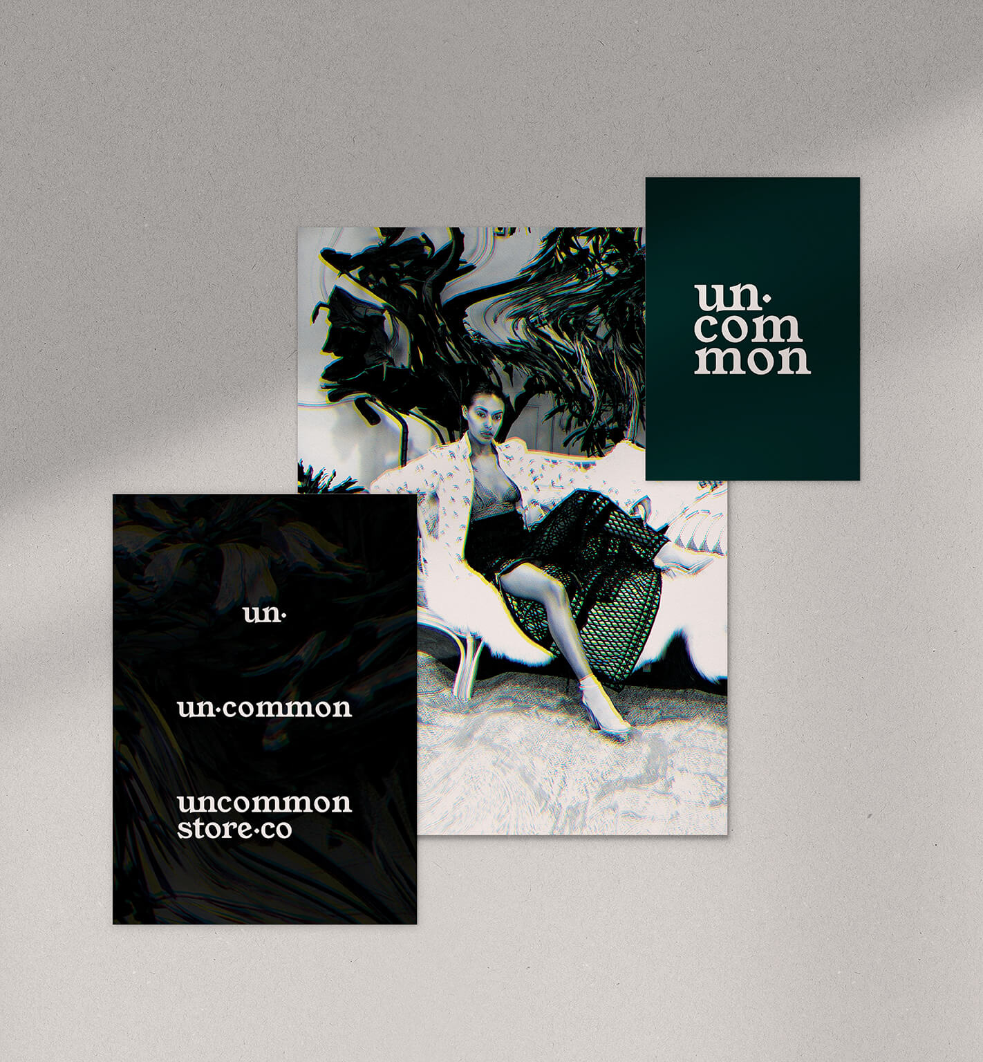 uncommon store brand identity collateral showing supporting glitch graphic and logo suite