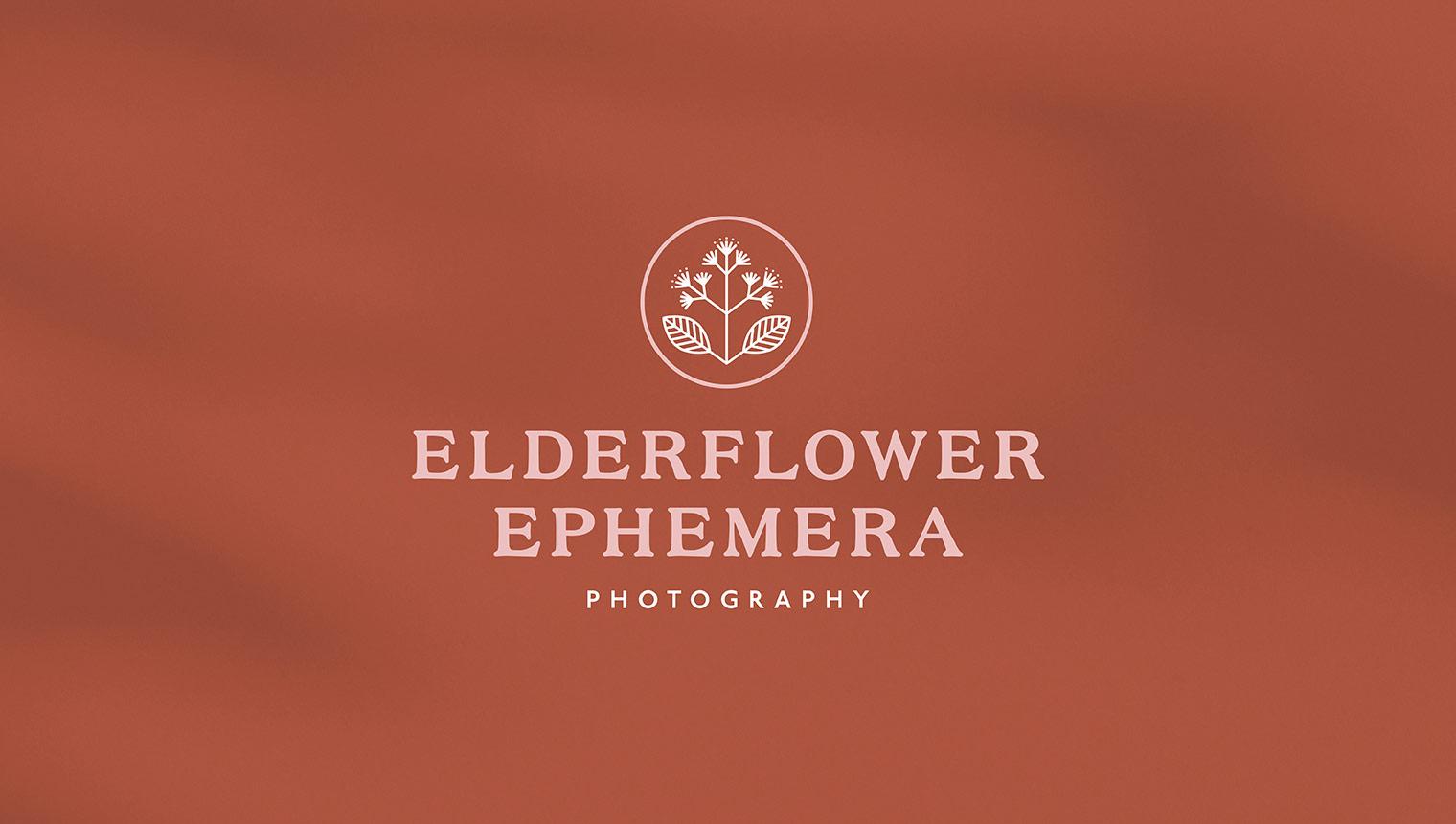 Vintage inspired logotype featuring floral emblem for film photographer elderflower ephemera